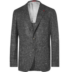 Isaia Grey Slim-Fit Donegal Silk, Wool and Cashmere-Blend Blazer