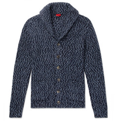Isaia Slim-Fit Shawl-Collar Mélange Alpaca-Blend Cardigan