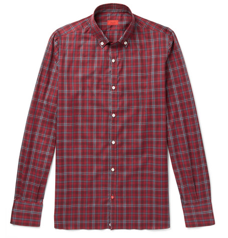 ISAIA Button-Down Collar Checked Cotton-Twill Shirt