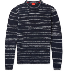 Isaia Striped Slub Wool-Blend Mock-Neck Sweater