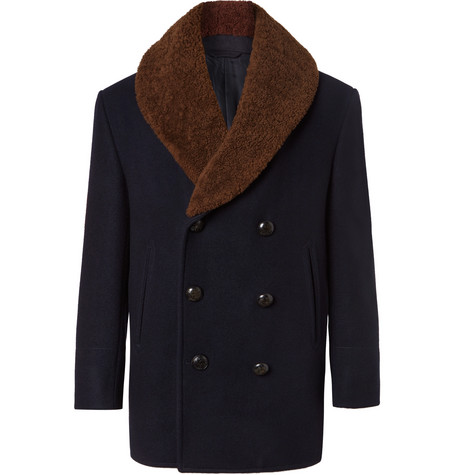 Double Breasted Shearling Trimmed Cashmere Felt Coat by Brioni
