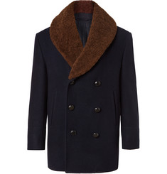 Brioni - Double-Breasted Shearling-Trimmed Cashmere-Felt Coat