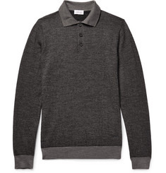 Brioni Herringbone Virgin Wool-Blend Polo Shirt