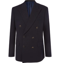Brioni - Midnight-Blue Double-Breasted Wool-Twill Blazer