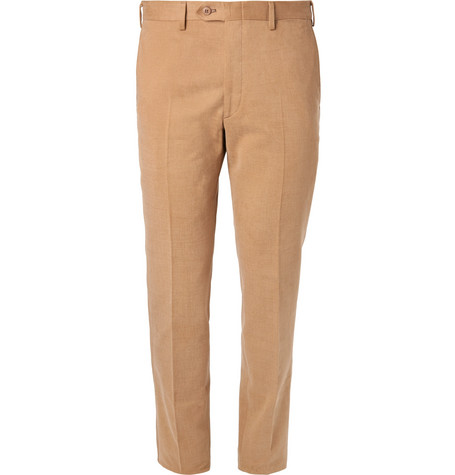 Slim Fit Brushed Cotton Twill Trousers by Brioni