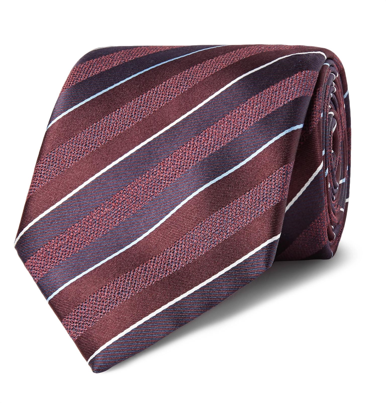 8cm Striped Silk-jacquard Tie Brioni 5Sbu5