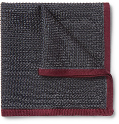 Brioni Contrast-Tipped Knitted Silk Pocket Square