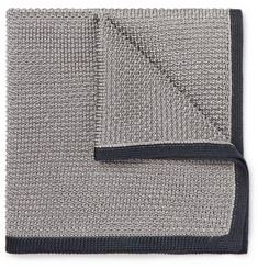 Brioni Contrast-Trimmed Knitted Silk Pocket Square