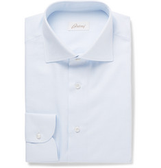 Brioni Light-Blue Cutaway-Collar Gingham Cotton Shirt