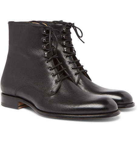 Textured-leather Boots Brioni