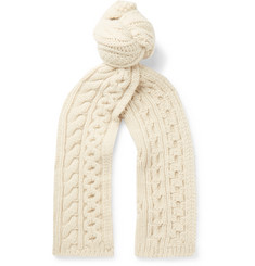 Brioni Cable-Knit Camel Hair Scarf