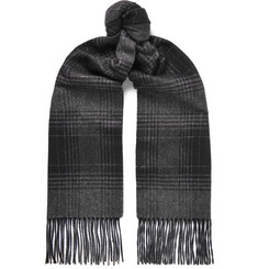 Brioni - Checked Fringed Cashmere and Silk-Blend Scarf