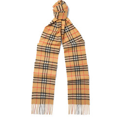 Burberry - Fringed Checked Brushed-Cashmere Scarf