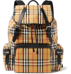 Burberry Leather-Trimmed Checked Canvas Backpack