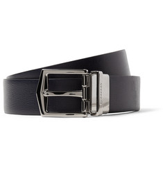 Burberry 3.5cm James Reversible Navy and Black Cross-Grain Leather Belt