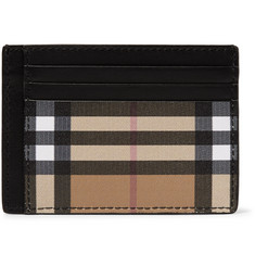 Burberry Leather and Checked Coated Canvas Cardholder