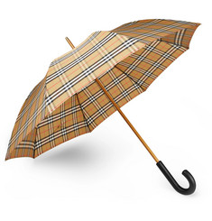 Burberry Leather-Handle Checked Umbrella