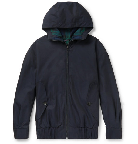 Cotton-gabardine Hooded Bomber Jacket - Navy