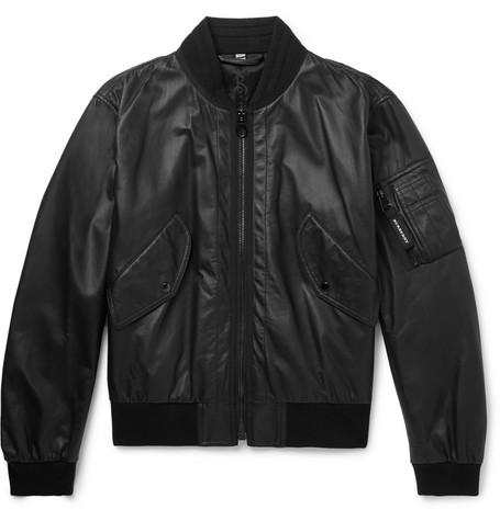 Burberry – Leather Bomber Jacket – Black
