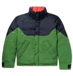 Burberry Reversible Colour-Block Nylon, Canvas and Quilted-Shell Down Jacket