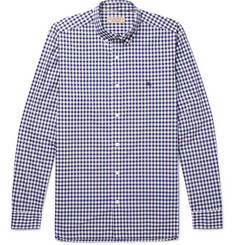 Burberry Button-Down Collar Gingham Cotton Shirt