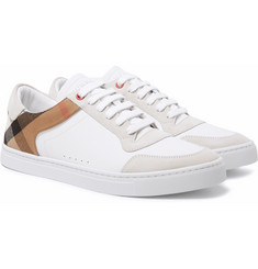 Burberry - Rubberised-Leather, Suede and Checked Canvas Sneakers