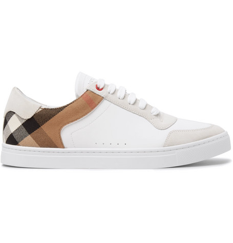 Burberry Rubberised-Leather, Suede and Checked Canvas Sneakers