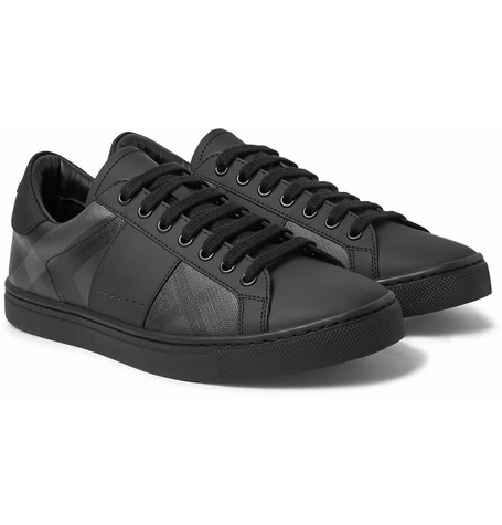 Rubberised Leather And Checked Pvc Sneakers by Burberry