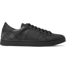 Burberry Rubberised-Leather and Checked PVC Sneakers