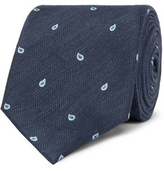 Dunhill 7cm Paisley-Embroidered Herringbone Linen and Mulberry Silk-Blend Tie