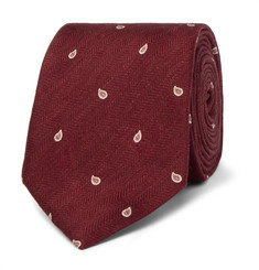 Dunhill - 7cm Paisley-Embroidered Herringbone Linen and Mulberry Silk-Blend Tie