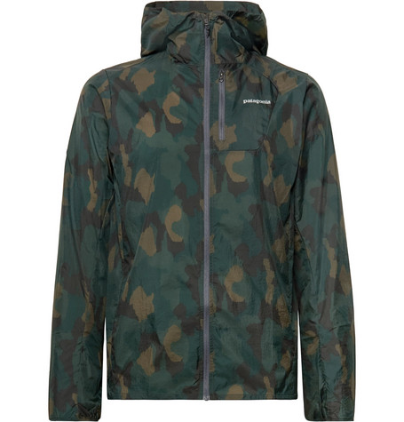PATAGONIA HOUDINI PACKABLE CAMOUFLAGE-PRINT NYLON-RIPSTOP HOODED JACKET