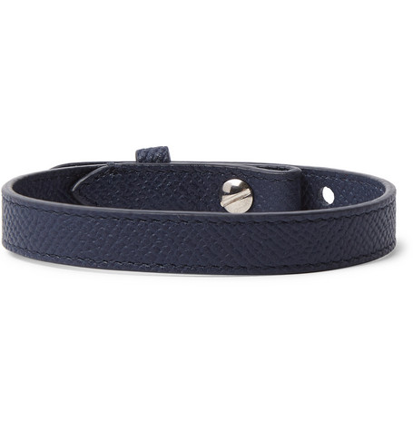 Cross Grain Leather Bracelet by Dunhill