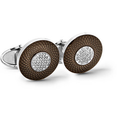 Dunhill - Sterling Silver, Enamel and Diamond Cufflinks