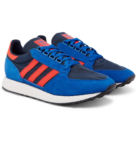 361ac11f1cb Adidas Originals Forest Grove Suede And Mesh Sneakers In Blue ...