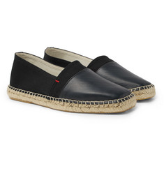 Orlebar Brown Sutton Canvas and Glossed-Leather Espadrilles