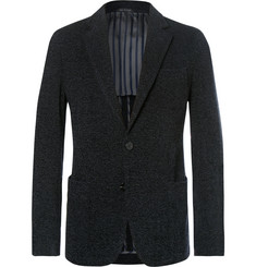 Giorgio Armani Midnight-Blue Slim-Fit Upton Unstructured Mélange Bouclé Blazer