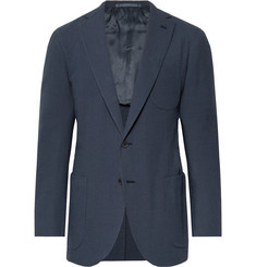 P. Johnson Storm-Blue Cotton-Seersucker Suit Jacket