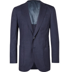 P. Johnson Midnight-Blue Slim-Fit Wool Suit Jacket