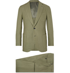P. Johnson Olive Slim-Fit Linen Suit