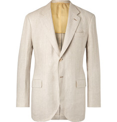 P. Johnson Beige Unstructured Herringbone Linen Blazer