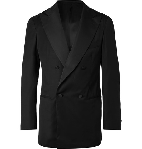 P. JOHNSON BLACK SLIM-FIT DOUBLE-BREASTED GROSGRAIN-TRIMMED WOOL TUXEDO JACKET