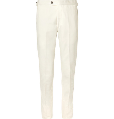 P. JOHNSON SLIM-FIT TAPERED COTTON-TWILL TROUSERS