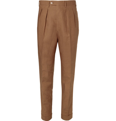 P. JOHNSON TAPERED LINEN-TWILL TROUSERS