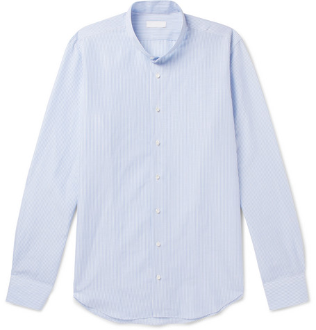 P. JOHNSON GRANDAD-COLLAR STRIPED COTTON AND LINEN-BLEND SHIRT