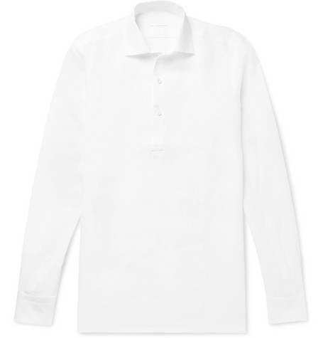 P. JOHNSON SLUB LINEN HALF-PLACKET SHIRT