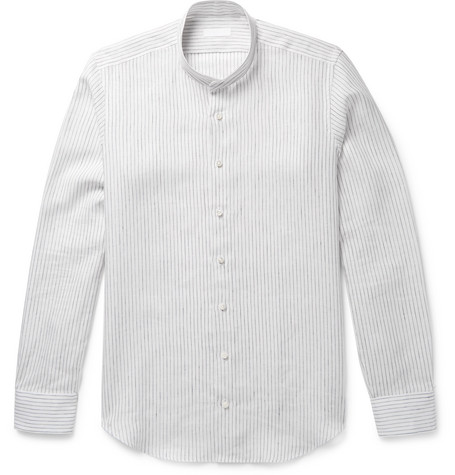P. JOHNSON MAO GRANDAD-COLLAR STRIPED LINEN SHIRT