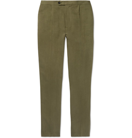 P. JOHNSON LINEN AND SILK-BLEND TWILL DRAWSTRING TROUSERS