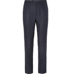 P. Johnson Pleated Linen-Twill Trousers