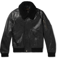 Belstaff Arne Shearling-Trimmed Leather Bomber Jacket